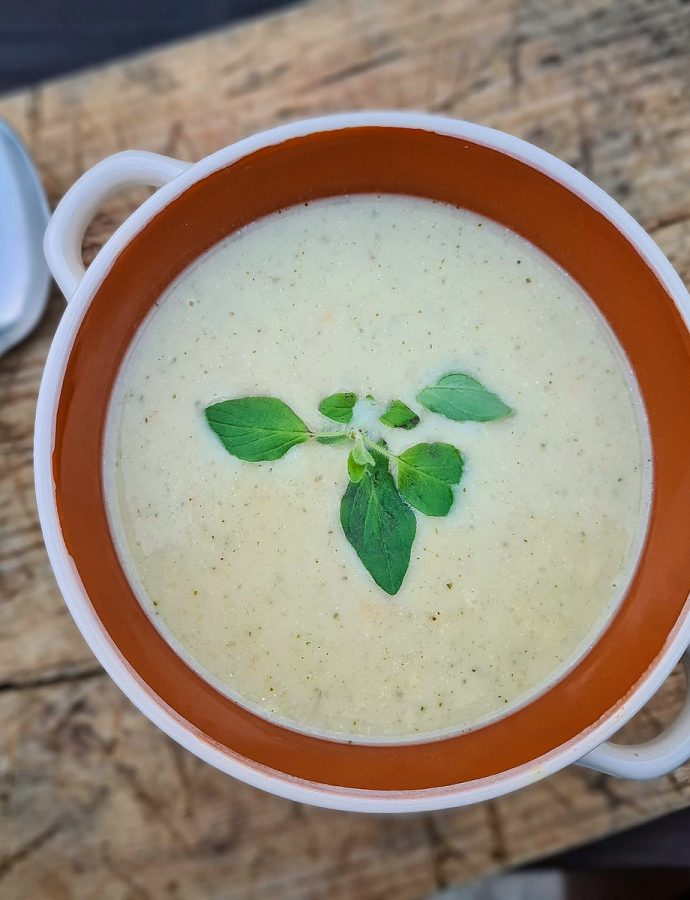 supă cremă de usturoi, cu oregano și parmezan. colecția de primăvară-vară
